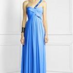 mavi uzun bayan elbise modeli