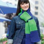 mavi yeşil selanik örgülü bayan kaşkol modeli