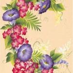 mor çiçek desenli dekupaj deseni