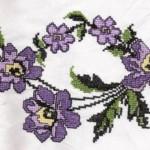 mor çiçekli etamin kaneviçe örnği