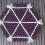mor beyaz yıldız desenli kasnak lif örneği