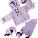 mor hırka eldiven bereli örgü bebek atkısı