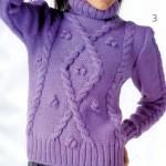 mor renkli saç örgü kazak modeli