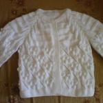 nohut örgülü beyaz bebek kazak modeli