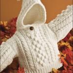 nohut örgülü krem rengi kapşonlu bebek hırkası modeli