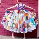 rengarenk desenli patchwork elbise modeli