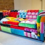 patchworkla yapılmış rengarenk koltuk modeli