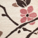 pembe çiçek desenli shaggy halı modeli