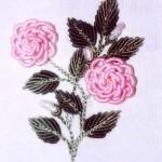 pembe çiçekli boncuklu brezilya nakışı örneği