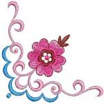pembe çiçekli kasnak nakışı örneği