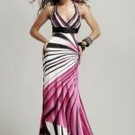 pembe çizgili uzun bayan elbise modeli