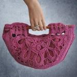 pembe astarlı tığ işi çanta modeli