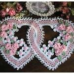 pembe beyaz kalpli içiçe dantel örtü modeli