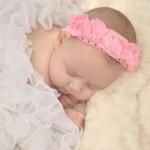 pembe güllü bebek saç bandı modeli