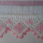 pembe işlemeli gönen iğne oyalı havlu kenarı modeli