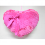 pembe kurdaleli kalpli peluş yastık modeli