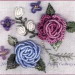 pembe mavi gül desenli brezilya nakışı örneği