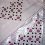 pembe renkli dantel havlu ve bohça örneği