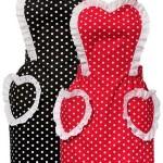 puanlı kalpli kırmızı siyah mutfak önlükleri