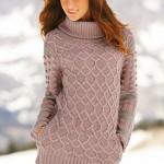 pudar rengi bayan boğazlı kazak modeli
