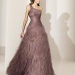 pudra rengi uzun bayan elbise modeli