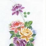 rengarenk çiçek desenli dekupaj örneği