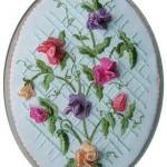 rengarenk çiçekli brezilya nakışlı pano örneği