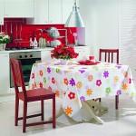 rengarenk çiçekli süslü masa örtüsü modeli