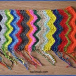 rengarenk çizgili örgü atkı modeli