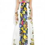 rengarenk askılı uzun bayan elbise modeli