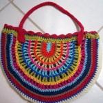 rengarenk oval tığ işi çanta modeli
