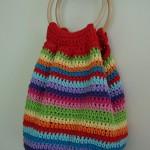 rengarenk tığ işi örgü çanta modeli