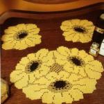 sarı ay çiçeği motifli dantel modeli