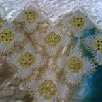 sarı cimli iple yapılmış motifli iğne oyası