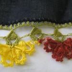 sarı kırmızı  renkli yazma oyası modeli