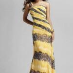 sarı leopar desenli uzun bayan elbise modeli