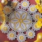 sarı paptya desenli komidin danteli örneği