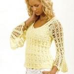 sarı renkli bayan fileli kazak modeli