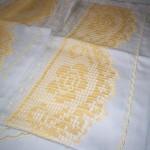 sarı renkli dantelli pike takımı modeli