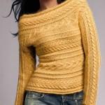 sarı renkli saç örgü kazak modeli