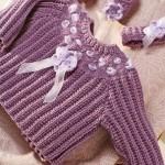 selanik örgülü mor bebek kazak modeli