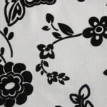 siyah beyaz çiçek desenli döşemelik kumaş modeli