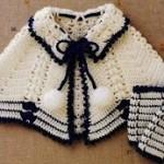 siyah beyaz patikli bebek pelerin modeli