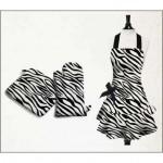 siyah beyaz zebra desenli eldivenli mutfak önlük modeli