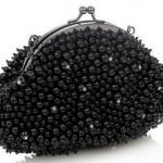 siyah boncuklu abiye çanta modeli
