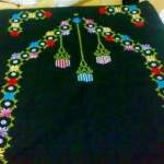 siyah etamin işi çiçekli avizeli seccade