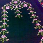 siyah etamin işi pembe çiçekli seccade