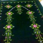 siyah etamin pembe çiçekli seccade