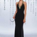 siyah kadife uzun bayan elbise modeli