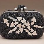 siyah metal desenli abiye çanta modeli